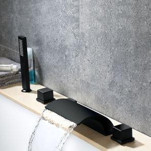 Robinet de baignoire noir pur avec douchette à main et 3 poignées