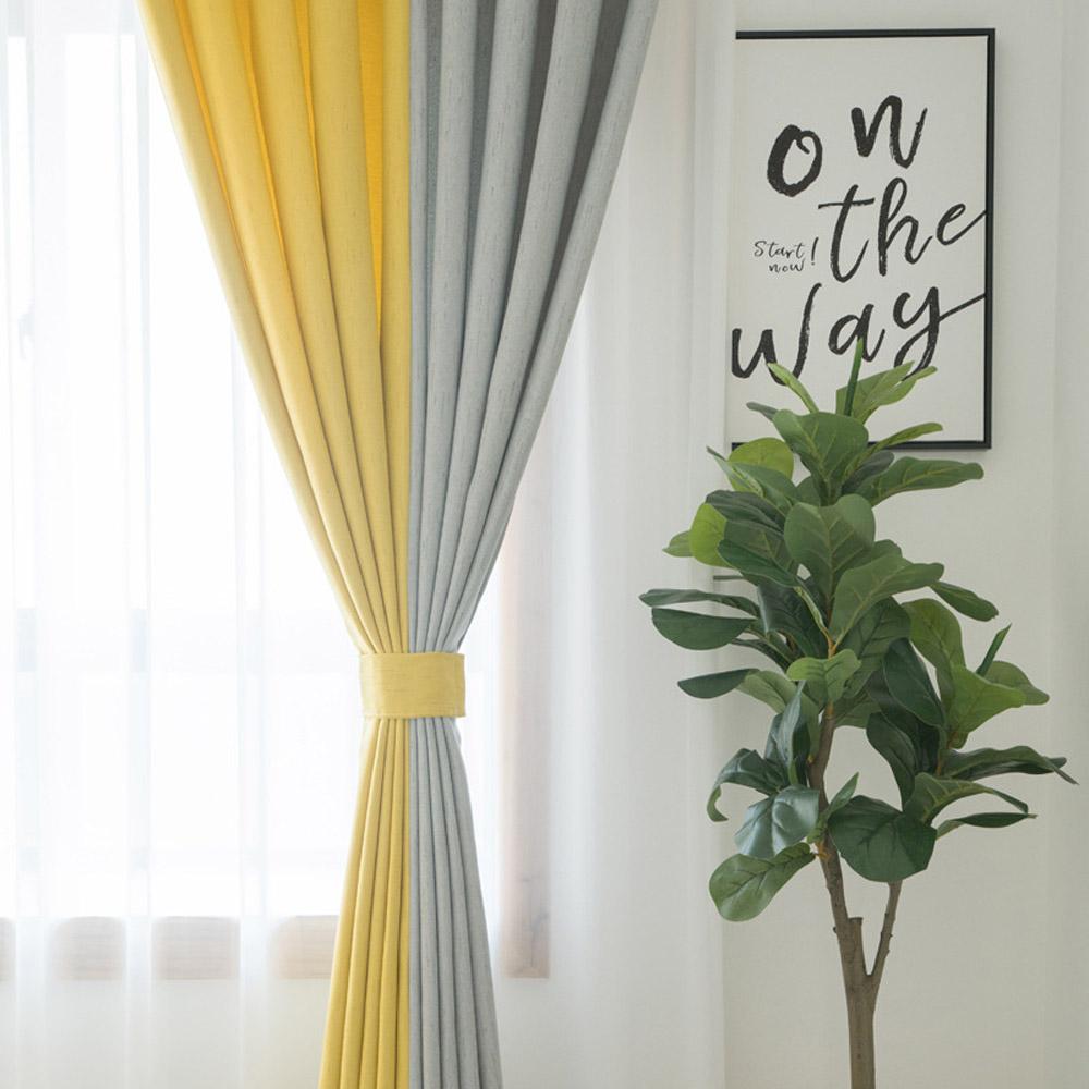 Rideaux Design Pour Chambre rideau occultant polyester jaune gris moderne pour chambre à