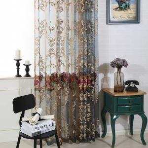 Voilage en polyester brodé fleur luxueux pour chambre à coucher salon