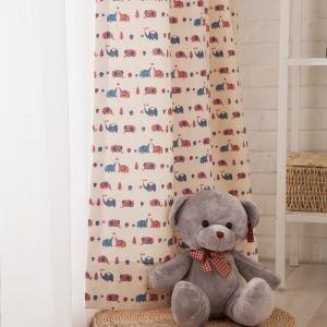 Rideau occultant imprimé petit éléphant en polyester coton pour chambre à coucher