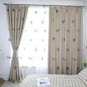 Rideau occultant en coton lin brodé chat souriant pour chambre à coucher salon