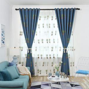 Rideau occultant bleu en lin brodé pomme de pin pour chambre à coucher salon