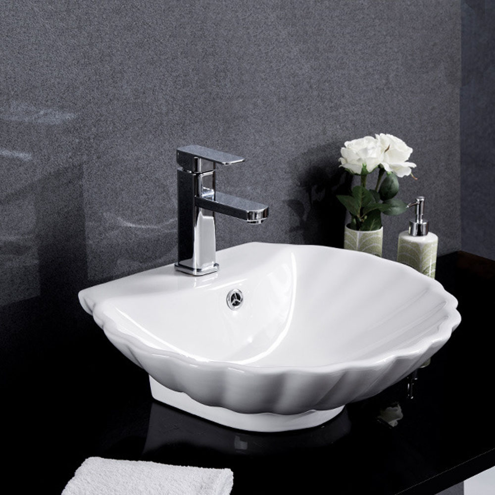 Vasque à poser en céramique coquille blanc pour salle de bains