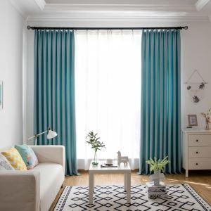 Rideau tamisant bleu claire en polyester lin pour chambre à coucher salon
