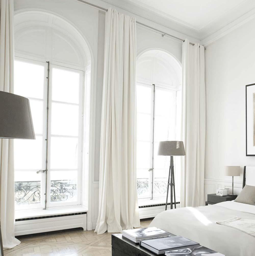Rideau Tamisant En Polyester Blanc Pur Moderne Pour Chambre A