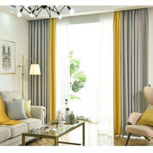 Rideau occultant en polyester deux couleurs pour chambre à coucher salon