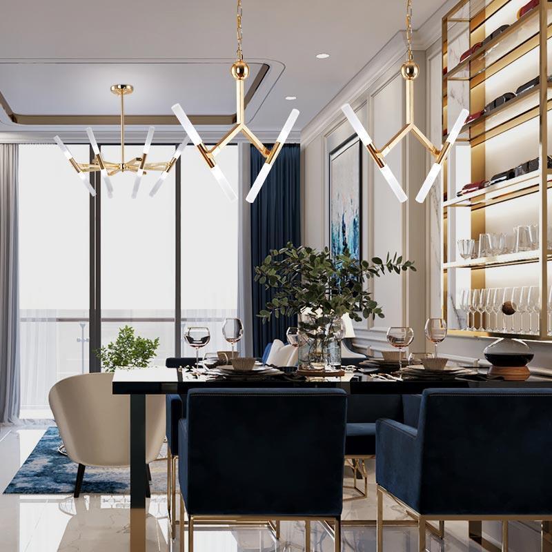 Contemporaine Suspension Led Or Design Fourche Pour Salle A Manger