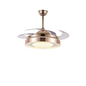 Suspension ventilateur LED en verre L108cm or blanc pour chambre