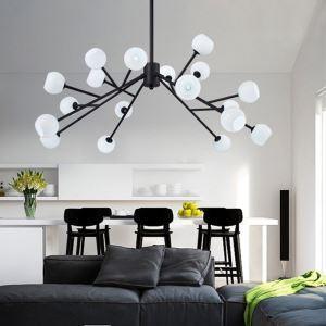 Lustre en métal noir blanc à 18 ampoules pour chambre salle d'exposition