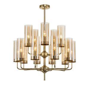 Suspension moderne or en forme cylindre pour salon salle à manger