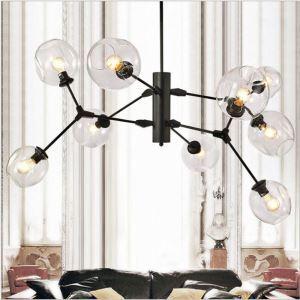 Suspension nordique à 9 ampoules abat-jour en verre pour chambre salon
