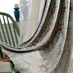 Rideau occultant en polyester jacquard damas luxueux pour chambre à coucher