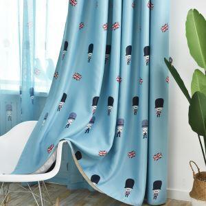 Rideau occultant polyester bleu soldat drapeau britannique pour chambre à coucher
