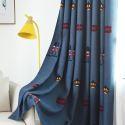 Rideau occultant en polyester brodé soldat bleu pour chambre d'enfant salon