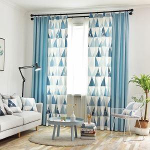 Rideau tamisant imprimé triangle en polyester pour chambre à coucher salon