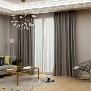 Rideau isolant en polyester gris épais pour chambre à coucher bureau
