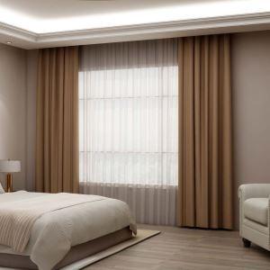 Rideau isolant en polyester café épais simple pour bureau chambre à coucher