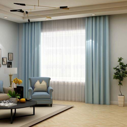 rideau occultant en polyester epais bleu claire pour chambre a coucher salon
