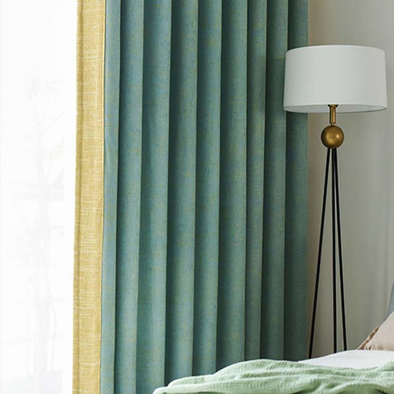 Rideau occultant en chenille couleur unie vert jaune pour chambre à coucher  salon