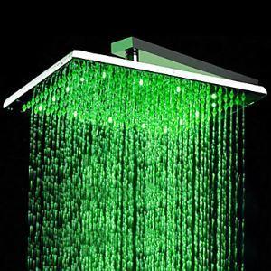 Pomme haute rectangulaire L.30 x l.48 cm LED chrmé en acier luxe pour salle de bains