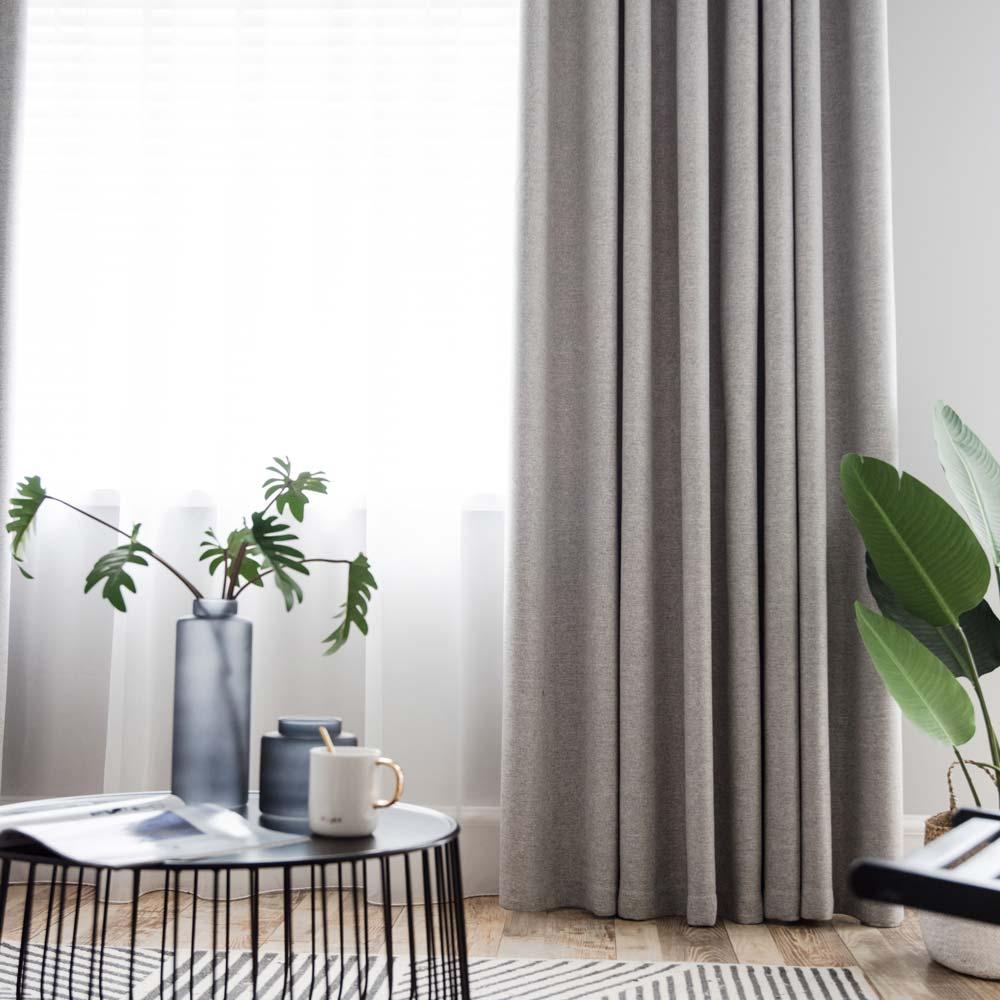 Couleur Lin Et Gris rideau occultant en polyester lin couleur pure gris pour