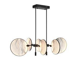 Plafonnier LED en fer verre éventail rond pour chambre à coucher salon
