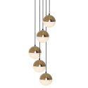 Suspension à 5 lampes abat-jour de boule en verre nordique pour salle à manger