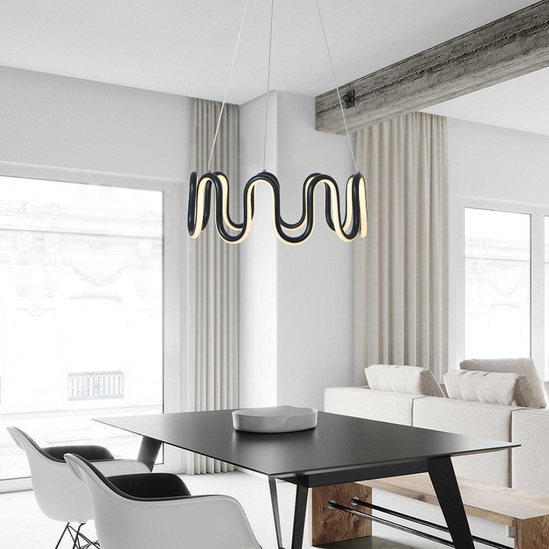 Suspension LED ondulée en aluminium style moderne pour salon ...