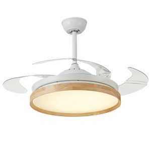 Suspension ventilateur LED en fer bois L108cm style simple pour chambre