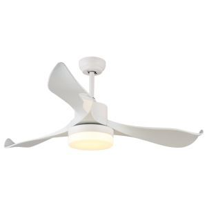 Suspension ventilateur LED en acrylique blanche moderne pour chambre salon