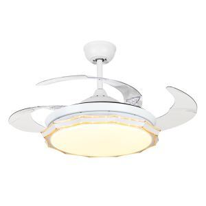 Suspension ventilateur LED en acrylique L108cm blanche ronde pour salon