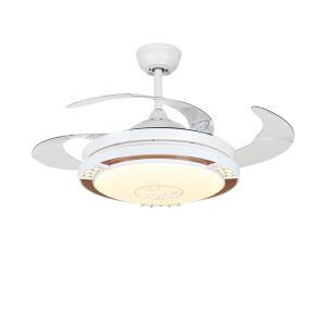 Suspension ventilateur LED ronde en acrylique L108cm pour salon chambre
