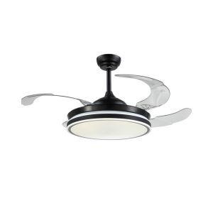 Suspension ventilateur LED en acrylique noire L108cm simple pour chambre salle