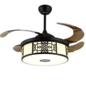 Suspension ventilateur LED en acrylique L108cm style chinois pour salon