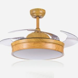 Suspension ventilateur LED en acrylique L108cm veinure ronde pour salon