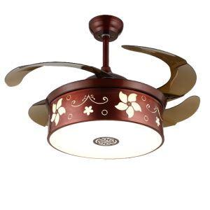Suspension ventilateur LED en acrylique L108cm marron fleur pour chambre
