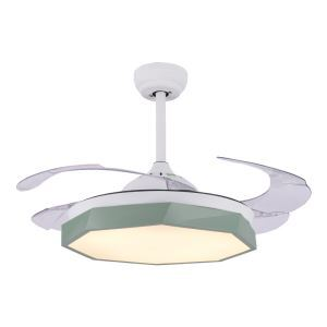 Suspension ventilateur LED en acrylique L108cm polygone moderne pour salon