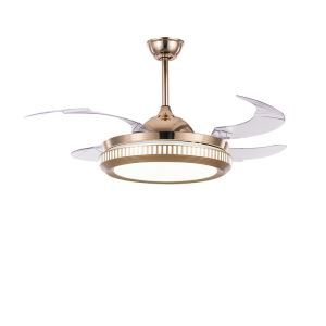 Suspension ventilateur LED en acrylique ronde style simple pour salon