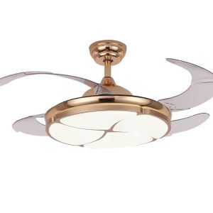 Suspension ventilateur LED en acrylique L108cm style simple pour salon