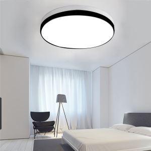 Plafonnier LED moderne rond H10cm pour chambre, noir et blanc