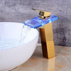 Mitigeur de lavabo cascade LED H27cm pour salle de bains
