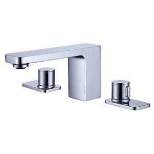 Robinet de lavabo classique en laiton massif pour salle de bains, noir/chromé