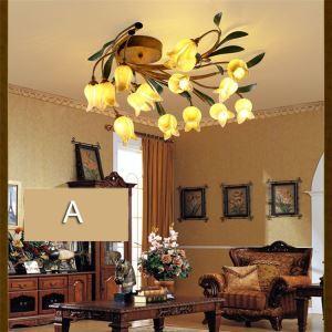 Plafonnier LED Fer tulipe doré/lys pourpre à 15 lampes 2 modèles luxe pour salon