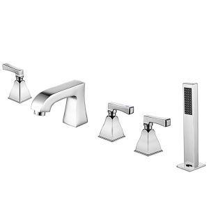 Robinet de baignoire moderne avec douchette, 3 poignées 5 trous d'installation