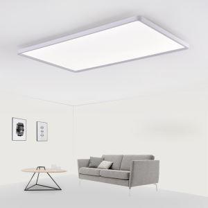 Plafonnier LED blanc rectangulaire H5cm abat-jour en acrylique pour salon