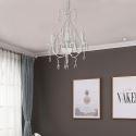 Lustre blanc D35cm lampe de plafond en fer cristal pour salon restaurant