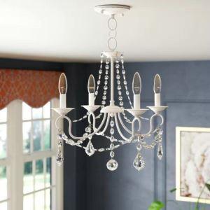 Lustre en cristal fer D45cm à 4 ampoules pour chambre, blanc/bronze antique