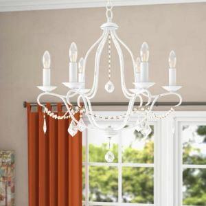 Suspension en fer cristal D63cm pour salon chambre, 6 lumières