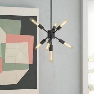 Lampe suspendue noire en fer à 7 ampoules lumière pour salon salle d'études, style nordique