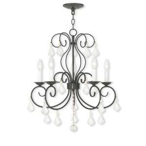 Lustre cristal à 5 lampes D 56cm lustre noir/blanc pour salon salle à manger